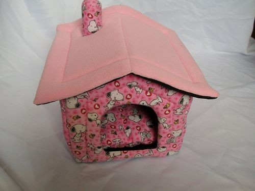 pink color dog house pet bed