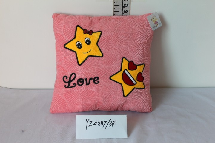 Plush Cushion with Star Embroidery