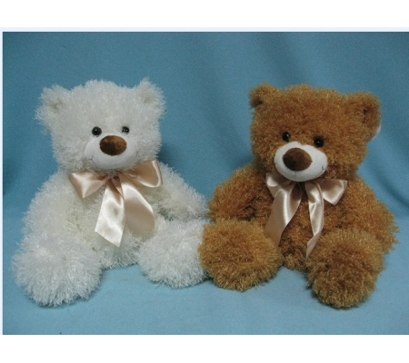 White and Brown Plush Teddy Bear With Ribbon