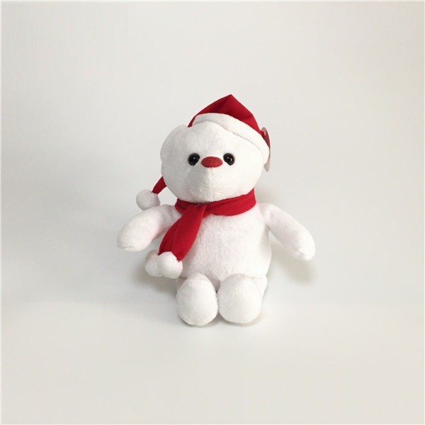 Cuddly Snow Bear with Hat and Scarf
